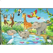 Waterhole Fun - Super Sized Floor Puzzle - 1-100 Pieces