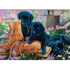 Black Lab Puppies - Tray Puzzle - 1-100 Pieces