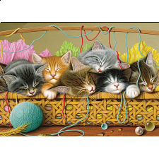 Kittens in Basket - Tray Puzzle - 1-100 Pieces