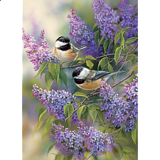 Chickadees and Lilacs - 1000 Pieces