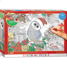 Color-Me Puzzle - Holly Jolly Owl - 101-499 Pieces