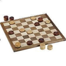 WE Games Wood Checkers Set - Backgammon and Checkers