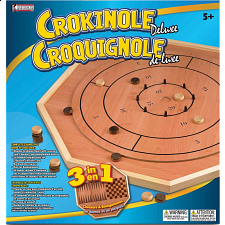 Crokinole 3 in 1 Deluxe Game Board Set - Backgammon and Checkers