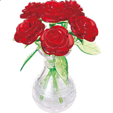 3D Crystal Puzzle - Roses in Vase - Plastic Interlocking Puzzles