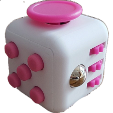 Anti Stress Fidget Cube - Pink & White - New Items
