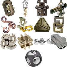 .Level 7 - a set of 14 Hanayama puzzles - Hanayama Metal Puzzles