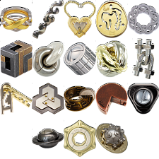 .Level 8 - a set of 19 Hanayama Puzzles - Hanayama Metal Puzzles