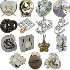 .Level 9 - a set of 10 Hanayama Puzzles - Hanayama Metal Puzzles