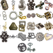 Levels 1-3: a set of 32 Hanayama Metal Puzzles -