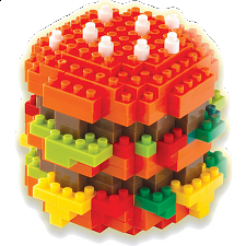 3D Pixel Puzzle - Hamburger - Plastic Interlocking Puzzles
