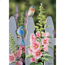 Bluebirds and Hollyhocks -