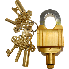 Brass 3 Key Trick Lock - Trickschloss Messing 3 Schlüssel - Puzzle Locks