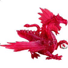 3D Crystal Puzzle Deluxe - Dragon (Red) - Plastic Interlocking Puzzles