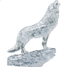 3D Crystal Puzzle - Wolf (Clear) - Plastic Interlocking Puzzles