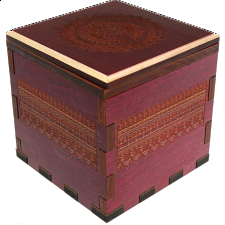 Mandala Secret Stash Box - Red Maple - Wooden Puzzle Boxes