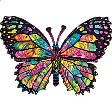 Stained Glass Butterfly - Shaped Jigsaw Puzzle -