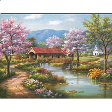 Covered Bridge In Spring -