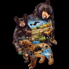 Bear Family Adventure - Shaped Jigsaw Puzzle -