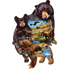 Bear Family Adventure - Shaped Jigsaw Puzzle - 1000 Pieces