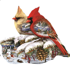 Winter Cardinals - Shaped Puzzle - Shaped