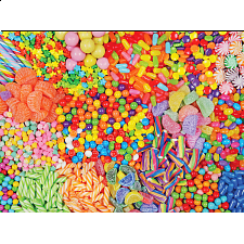Yummy Puzzles: Colorful Candy Mix - 101-499 Pieces