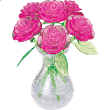3D Crystal Puzzle - Roses in Vase (Pink) - Plastic Interlocking Puzzles