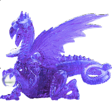 3D Crystal Puzzle Deluxe - Dragon (Purple) - Plastic Interlocking Puzzles