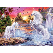 Unicorns: Unicorn Waterfall Sunset - Jigsaws