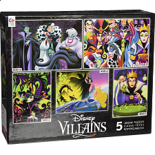 Disney Villains: 5 In 1 Jigsaw Puzzle Collection #1 - 101-499 Pieces