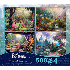 Thomas Kinkade: Disney 4 in 1 Jigsaw Puzzle Collection #1 - 500-999 Pieces