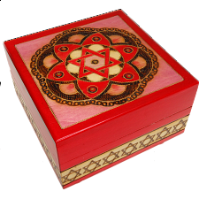 Star of David & Flower Secret Box - Red - Wood Puzzles