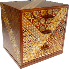 6 Sun 3 Drawers Jewelry Box - Yosegi / Zaiku - Wood Puzzles
