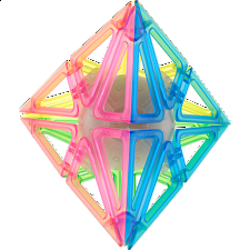 Frame Pyraminx - 4 Color Transparent Glow-in-the-Dark -