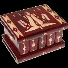 Romanian Puzzle Box - Small Burgundy -