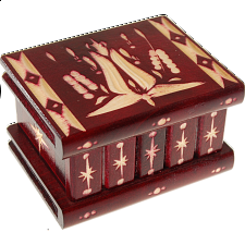 Romanian Puzzle Box - Small Burgundy - Wood Puzzles