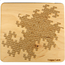 Wooden Fractal Tray Puzzle - Dragon Curve - Packing Puzzles