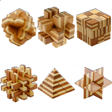 Group Special - a set of 6 Bamboo Wood puzzles -