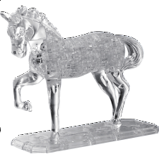3D Crystal Puzzle Deluxe - Horse (White) - 3D Crystal Puzzles