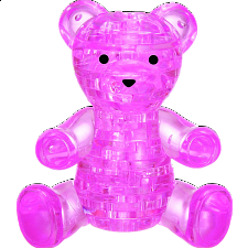 3D Crystal Puzzle - Teddy Bear (Pink) -