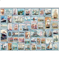 Sailing Ships: Vintage Stamps - Large Piece Jigsaw Puzzle -