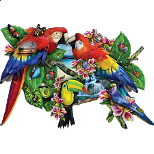 Parrots In Paradise - Shaped Jigsaw Puzzle - Shaped