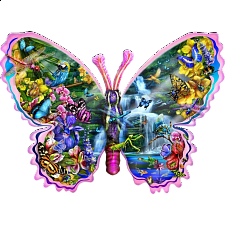 Butterfly Waterfall - Shaped Jigsaw Puzzle -