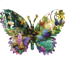 Forest Butterfly - Shaped Jigsaw Puzzle - Shaped