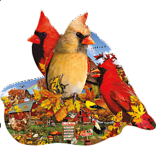 Fall Cardinals - Shaped Jigsaw Puzzle - New Items