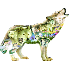 Meadow Wolf - Shaped Jigsaw Puzzle - Shaped