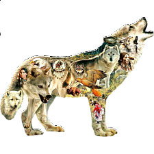 Native American Wolf - Shaped Jigsaw Puzzle - Shaped