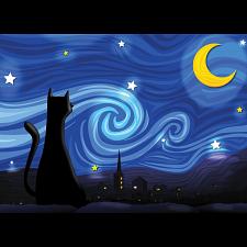 Mrowwy Night - Large Piece -