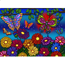 Flowers and Butterflies - Large Piece Puzzle - 101-499 Pieces