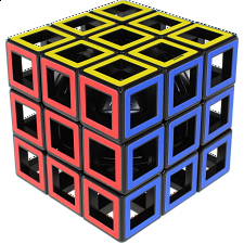 Hollow 3x3x3 Cube - Black Body - Meffert's Rotational Puzzles