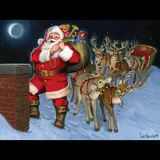 Santa By The Chimney - Tray Puzzle - Jigsaws